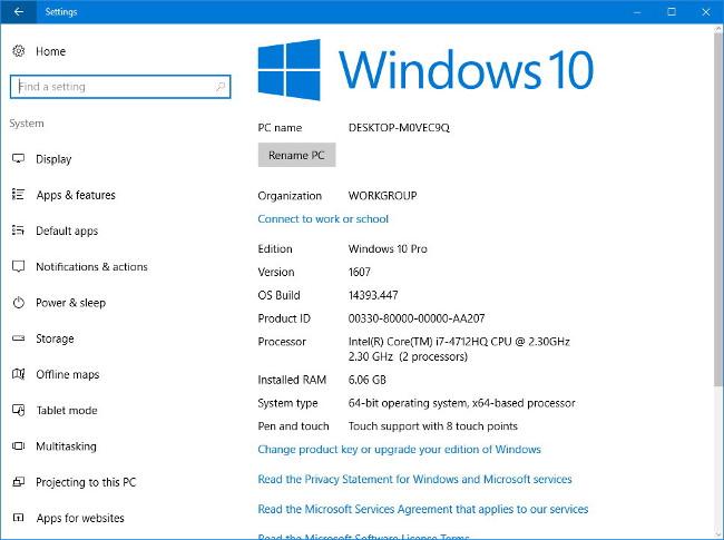 4 cách kiểm tra chi tiết cấu hình hệ thống Windows 10