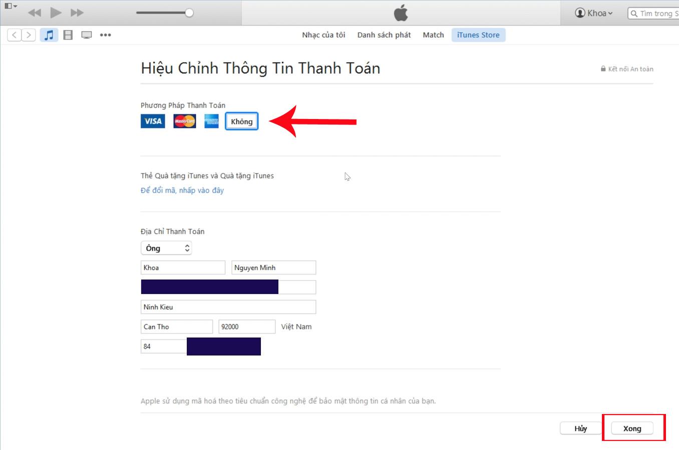 Hướng dẫn gỡ bỏ thẻ thanh toán trên iTunes