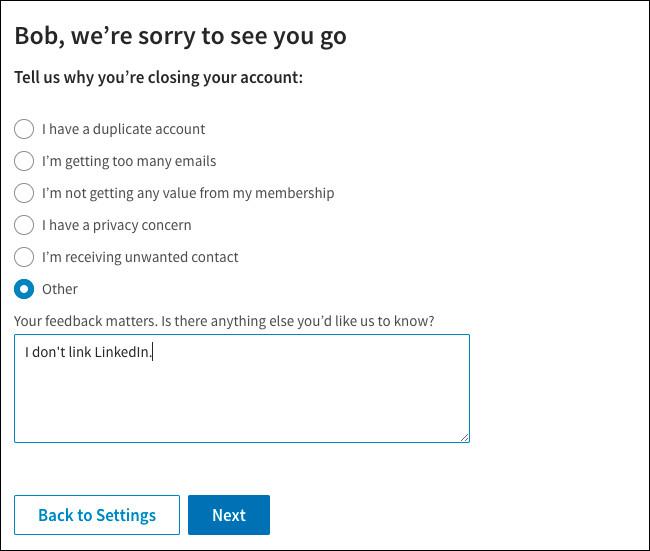 Các bước xóa tài khoản LinkedIn của bạn