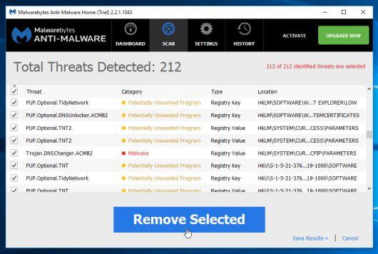 Để loại bỏ các phần mềm, chương trình độc hại mà Malwarebytes Anti-Malware phát hiện ra, click chọn nút Remove Seletected.