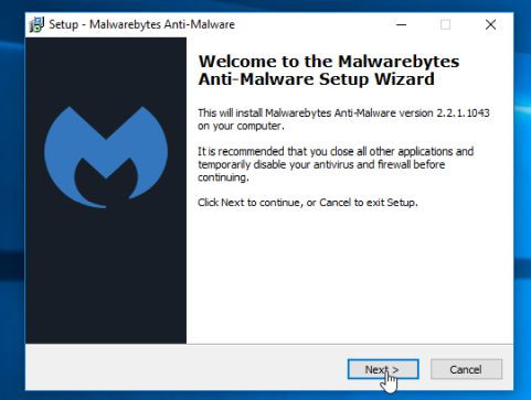 Malwarebytes Anti-Malware Setup Wizard