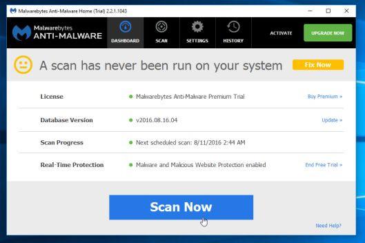 Sau khi cài đặt xong, Malwarebytes Anti-Malware sẽ tự động mở