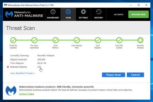 Malwarebytes Anti-Malware sẽ bắt đầu quá trình quét máy tính