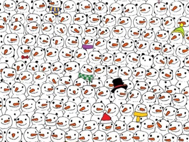 13. Bạn hãy tìm ra con gấu trúc trong số người tuyết