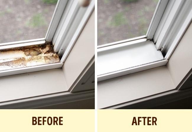 Làm sạch ray trượt cửa sổ
