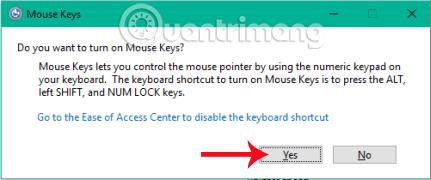 Cách kích hoạt tính năng Mouse Keys Windows 10