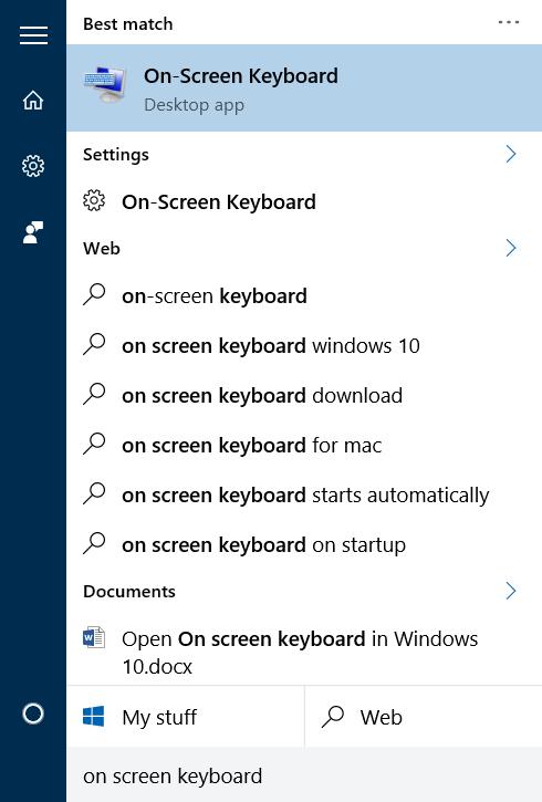 Mở bàn phím ảo trên Start Menu