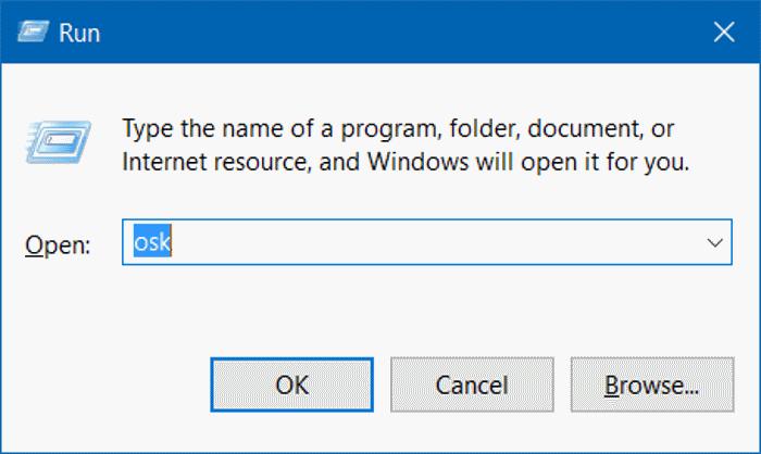 Mở bàn phím ảo từ cửa sổ lệnh Run