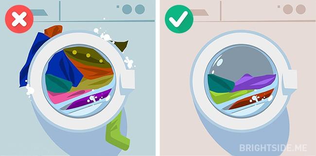 Giặt quá nhiều quần áo cùng một lúc