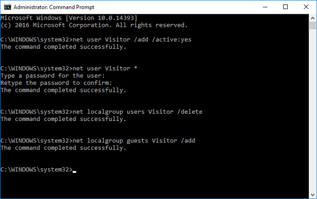 Cách sử dụng lệnh để tạo tài khoản Guest trên Windows 10