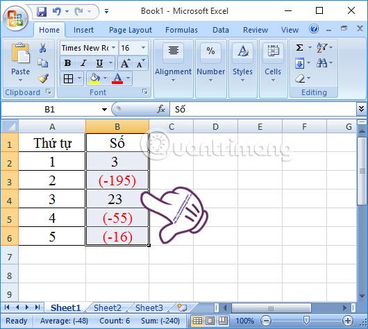 Đóng dấu ngoặc số âm trong Excel