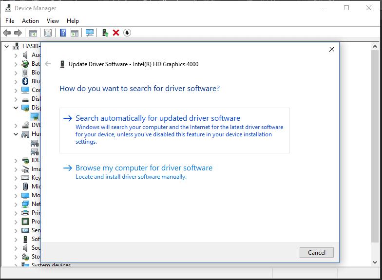 Kích chuột phải vào driver video và chọn update driver