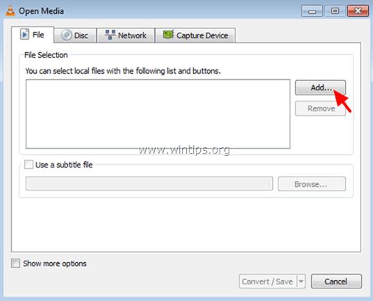 Tại tab File, bạn click chọn nút Add