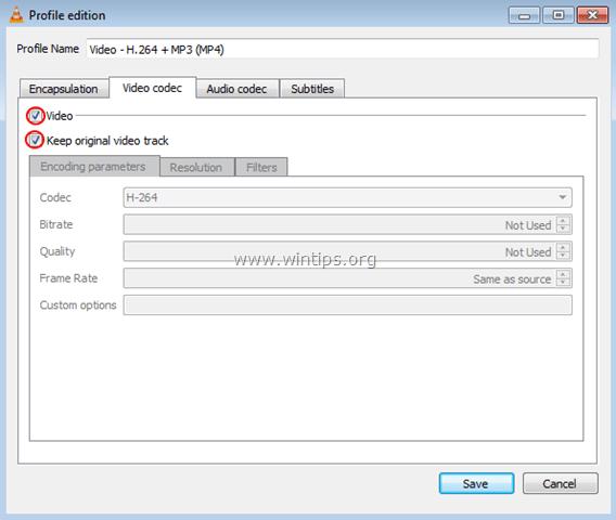 Tại tab Video codec, đánh tích chọn cả mục Video và Keep original video track