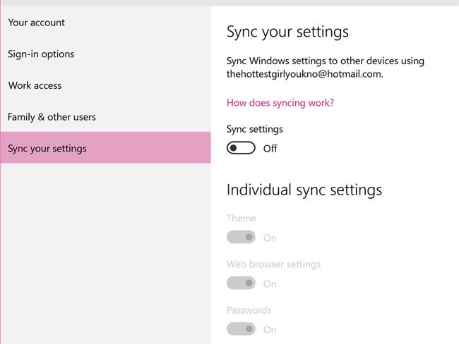 Tắt tính năng đồng bộ cài đặt của Windows 10