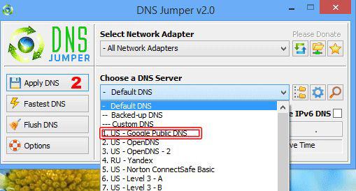 Giao diện của DNS Jumper