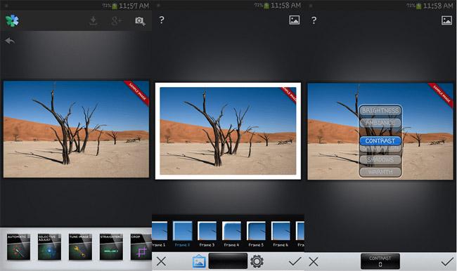 Giao diện của ứng dụng tăng cường hình ảnh cho Android Snapseed