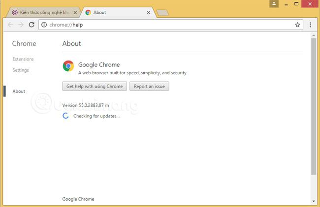 Cách cập nhật Google Chrome lên phiên bản mới nhất