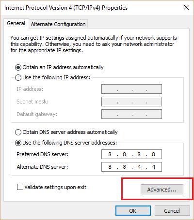 Trên cửa sổ Internet Protocol Version 4 (TCP/IPv4) Properties, click chọn Advanced