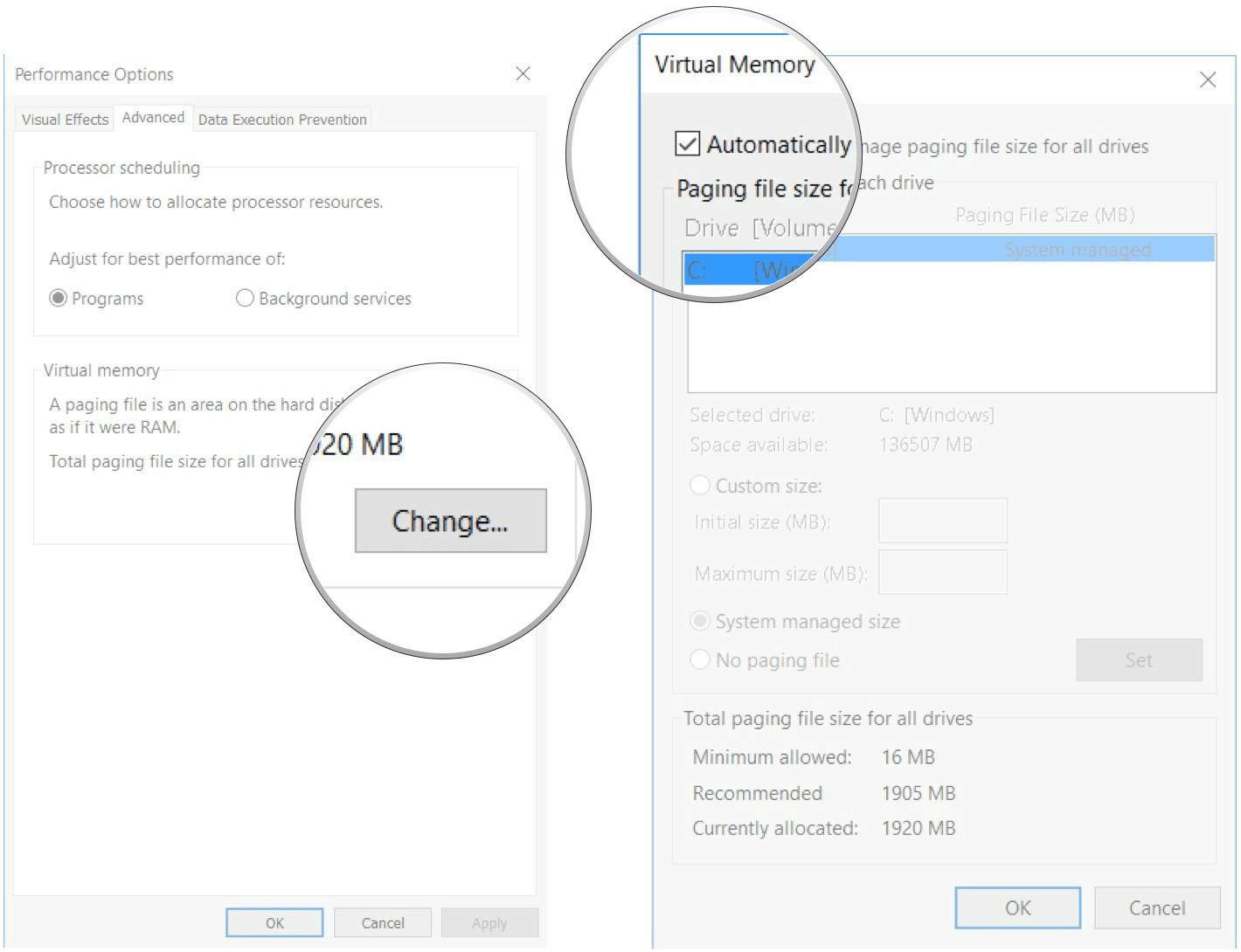 Bỏ tích chọn hộp checkbox nằm kế bên tùy chọn Automatically manage paging file size….