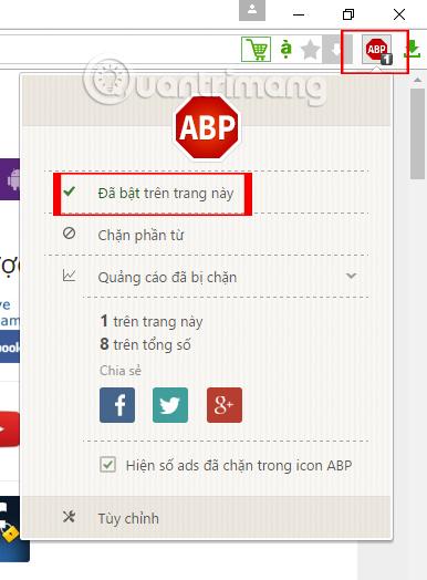 Bật Adblock Plus