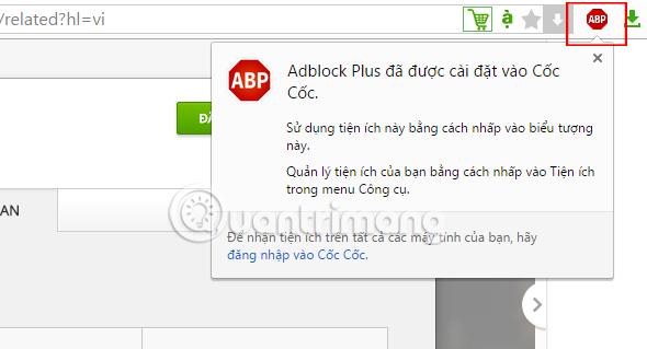 Thông báo của Adblock Plus