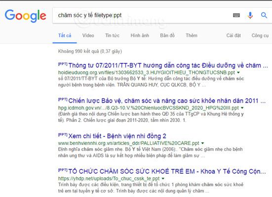 Tìm chính xác loại file trên Google