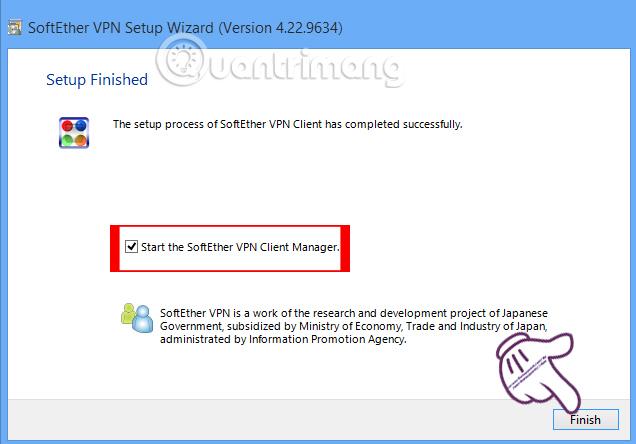 Hoàn thành quá trình cài đặt VPN Gate