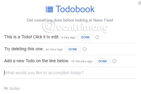 Giao diện danh sách công việc Todobook