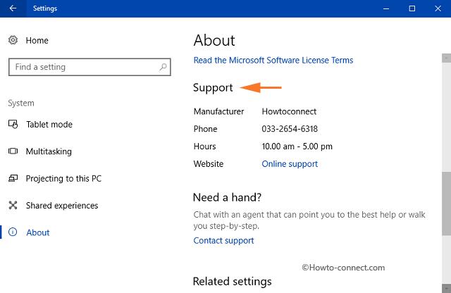 Thêm hoặc thay đổi thông tin hỗ trợ OEM trên Windows 10