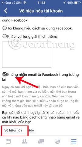 Vô hiệu Facebook tạm thời