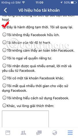 Lý do vô hiệu hóa Facebook tạm thời