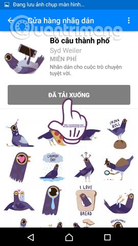 Cách tải sticker Chú chim màu tím ngộ nghĩnh trên Facebook