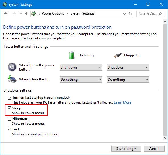 Tùy chọn Sleep bị thiếu trên Menu Power Windows 10/8/7, đây là cách khôi phục