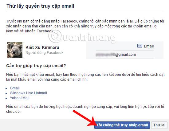Không có quyền truy cập email