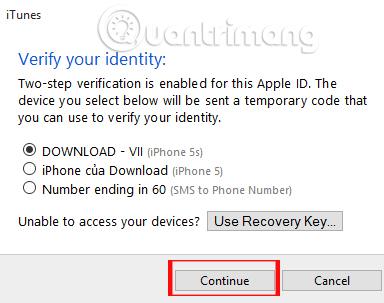 Nhận mã xác minh trên iTunes
