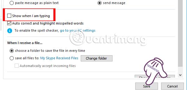 Cách tắt thông báo đang nhập ký tự chat Skype