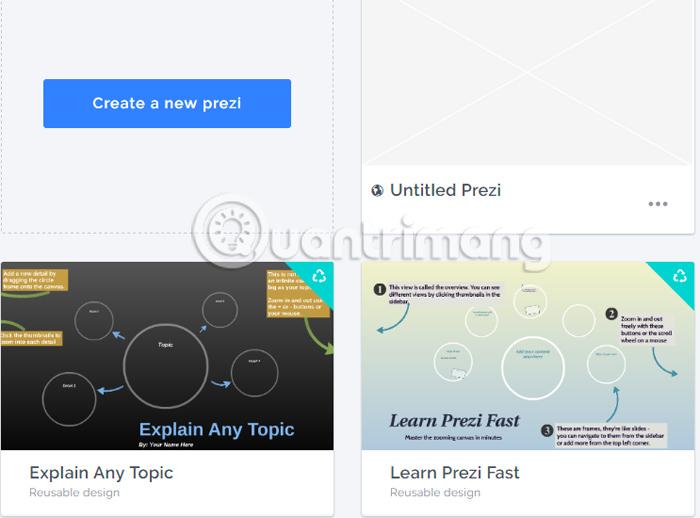 Prezi tạo slide trực tuyến