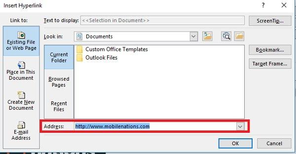 Nhập URL liên kết cho Outlook