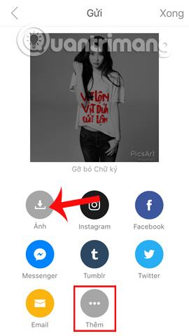 Mở thêm ứng dụng chia sẻ hình ảnh
