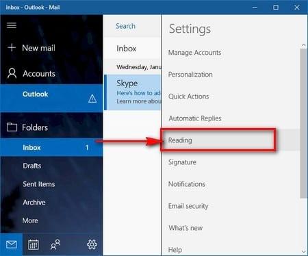 Cách tắt tính năng xem trước nội dung Mail Windows 10