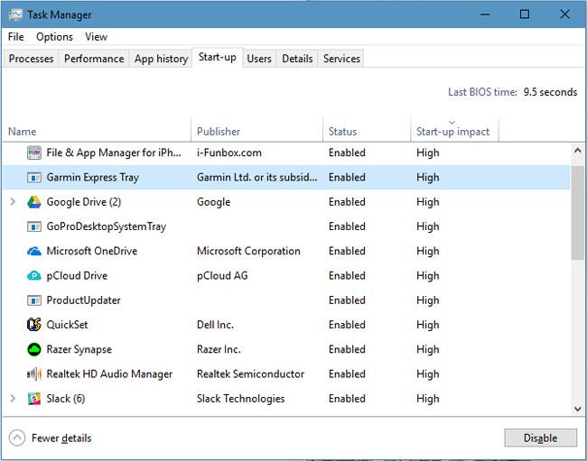 Giao diện Task Manager trên Windows 10