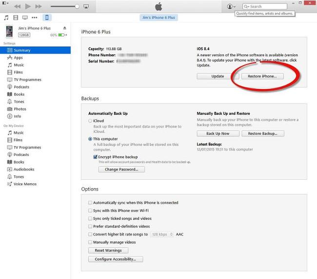 Khôi phục tin nhắn đã xóa bằng cách sử dụng iTunes