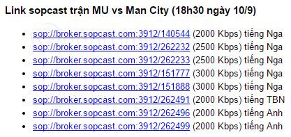 Link Sopcast trận MU vs MC