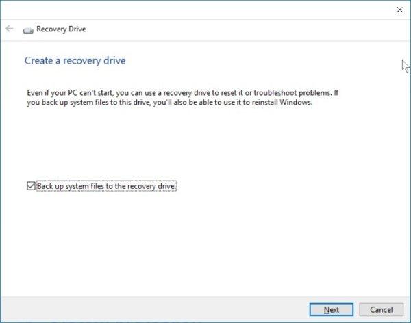 Cửa sổ thiết lập Recovery trên Windows 10