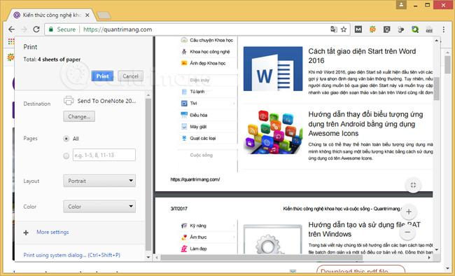 Xem trang web trước khi in trên Chrome