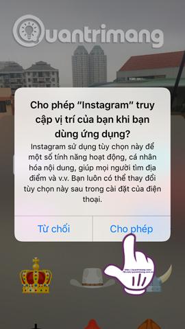 Instagram truy cập vị trí hiện tại