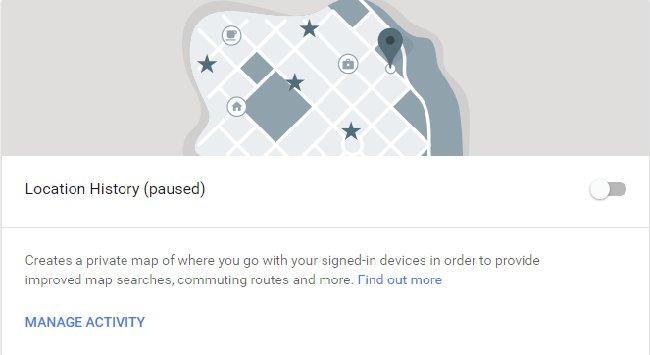 Cài đặt lịch sử vị trí của Google