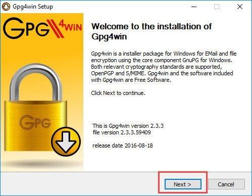 Cài đặt GPG4win