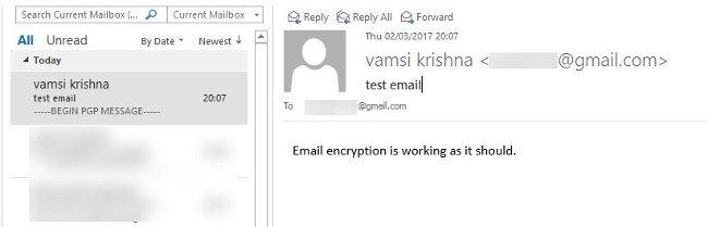 Tin nhắn nhận từ mã hóa Outlook
